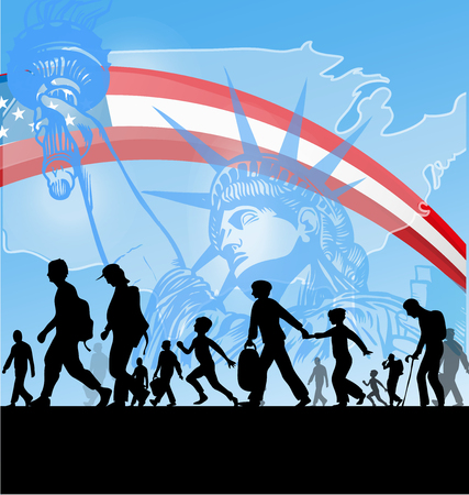 emigration and immigration: american people immigration background Illustration