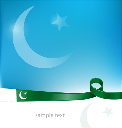 pakistan flag: pakistan ribbon flag on sky  background Illustration