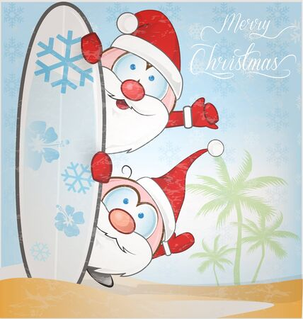 funny surfer: fun santa claus cartoon with surfboard on snow background