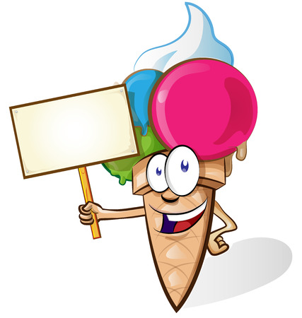 Ice cream cartoon with signboard isolated on white background