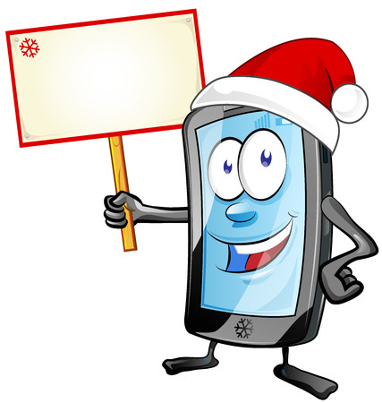 telephone cartoon: fun christmas  mobile cartoon with signboard isolated on white background