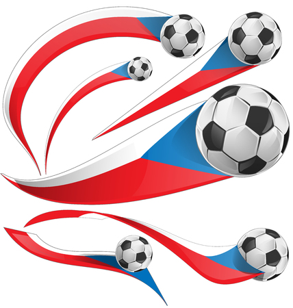 ar: Czech Republic flag  set with soccer ball isolated