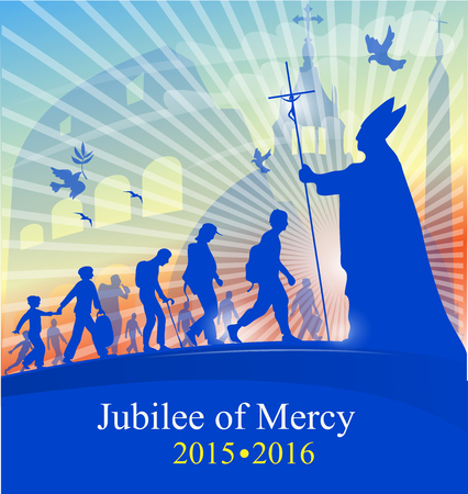 vatican city: jubilee of marcy with pope on rome background Illustration