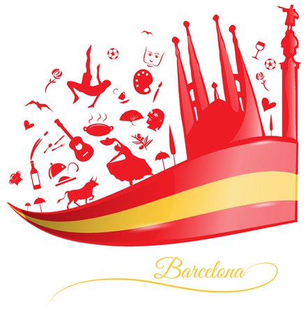 barcelona spain: barcelona background with flag and symbol set Illustration