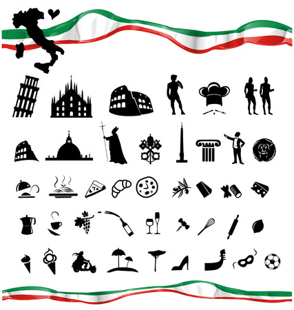 italian culture: ITALIAN symbol set with flag isolated on white