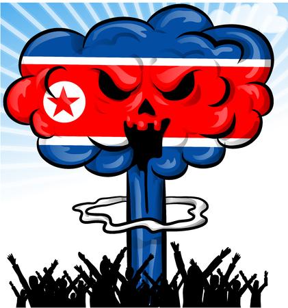no nuclear: bomb on north korea flag on background Illustration