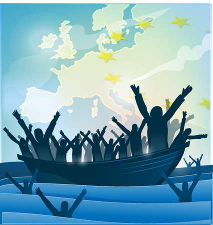immigration people with  the boat on european map Vectores