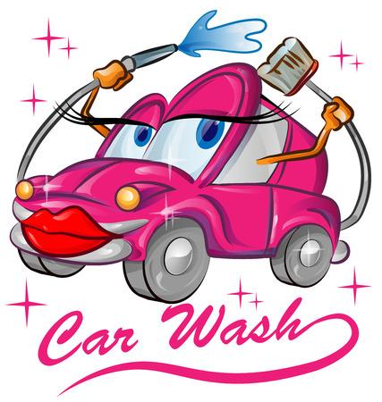 carwash: rojo de dibujos animados de lavado de coches sexy aislados en blanco