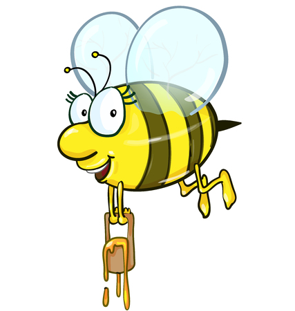 caricatura mosca: historieta de la abeja que sostiene cubo de miel sobre fondo blanco