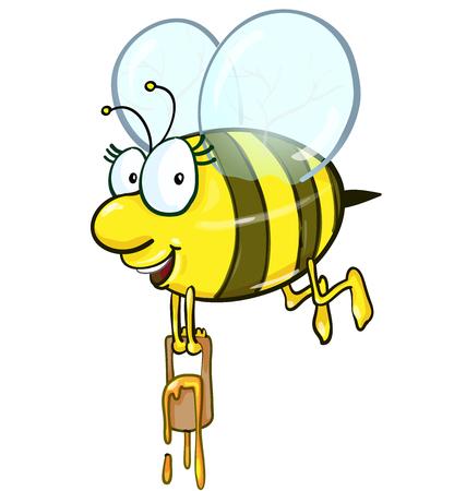 abeja reina: historieta de la abeja que sostiene cubo de miel sobre fondo blanco