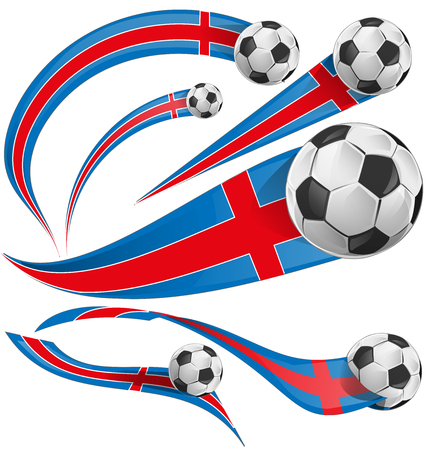 iceland flag: iceland flag with soccer ball isolated
