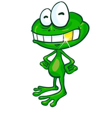 crazy frog: fun frog cartoon with gold tooth on white background Illustration