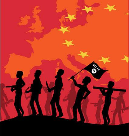victim war: ISIS terrorist silhouette on european map Illustration