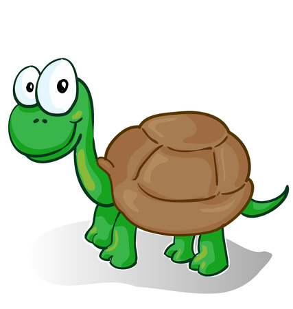 baby animal: Vector illustration of a smiling cartoon turtle on white background