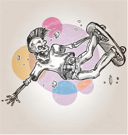 skelet skater op abstracte retro achtergrond
