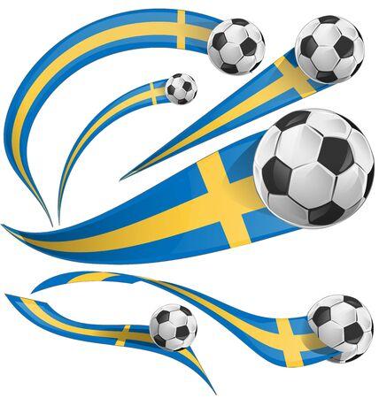bandera de suecia: bandera de Suecia estableció con balón de fútbol Vectores
