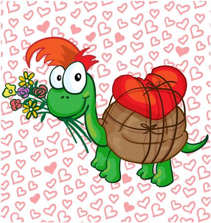 turtles love: Vector illustration of a in love cartoon turtle