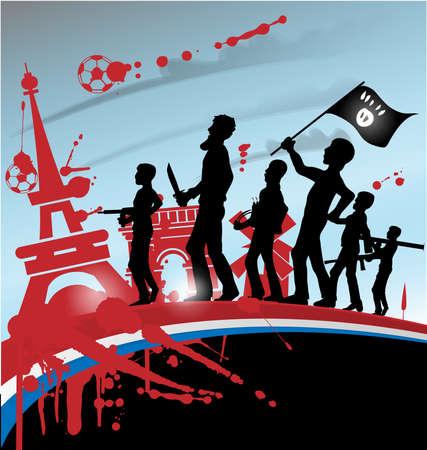 victim war: ISIS terrorist silhouette on france symbol and flag Illustration