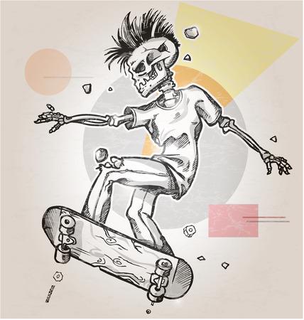 calavera caricatura: patinador esqueleto en el fondo retro abstracto