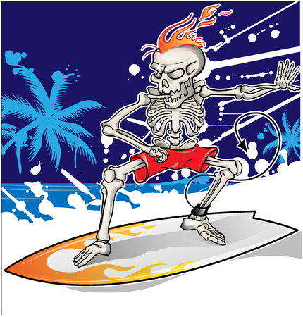 fearful: skeleton surfer on summer sea  background