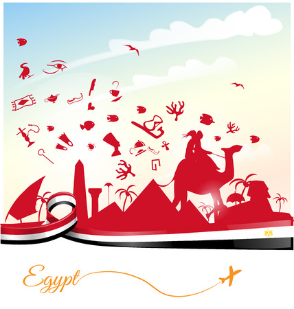 bandera de egipto: egipto fondo con la bandera y el símbolo Vectores