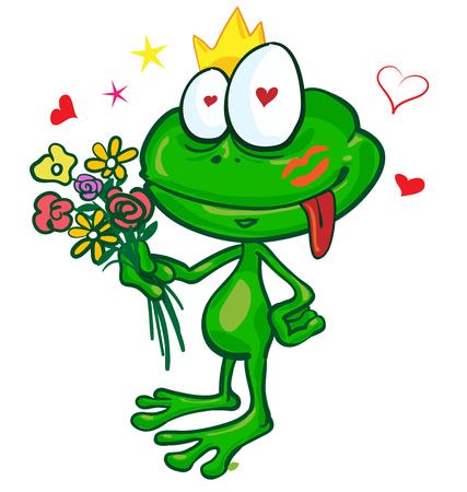 baiser amoureux: dessin anim� grenouille avec des fleurs isol� sur blanc