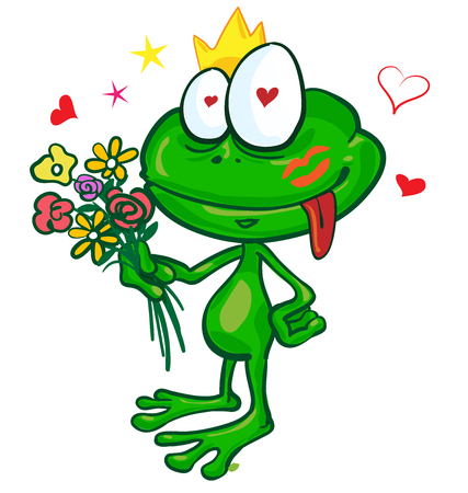 frog cartoon with  flowers isolated on white Illustration