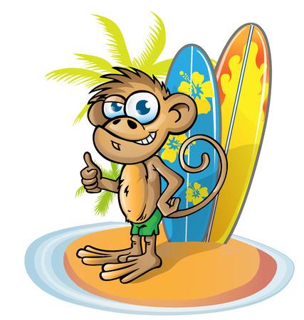 bebe a bordo: mono del dibujo animado que practica surf en la isla con tabla de surf