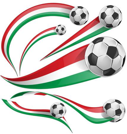 drapeau mexicain: jeu de drapeau italien et mexicain avec un ballon de soccer Illustration