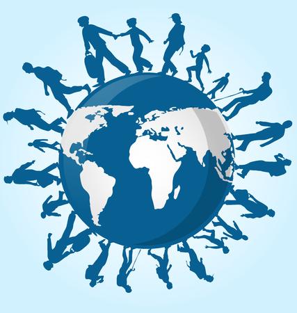 la gente de inmigración en el mapa del mundo de fondo Ilustración de vector