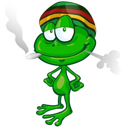 rana caricatura: de dibujos animados de la rana jamaicana en el fondo blanco
