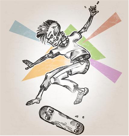 ni�o en patines: patinador esqueleto en el fondo retro abstracto