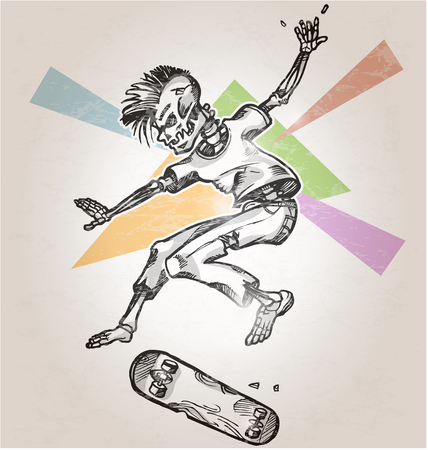 cartoon board: skeleton skater  on abstract retro background