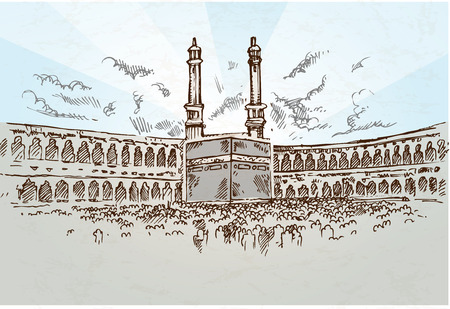 mecca background drawing hand drawn