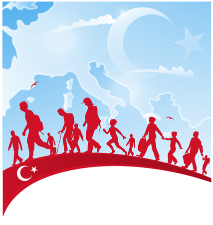 european map: immigration people on turkey flag with european map