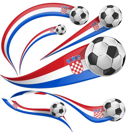 bandera de croacia: Bandera de Croacia establece con balón de fútbol aislado Vectores