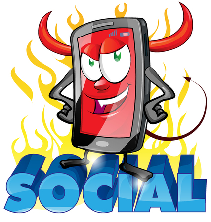 social networking: evil fun mobile cartoon on flame background