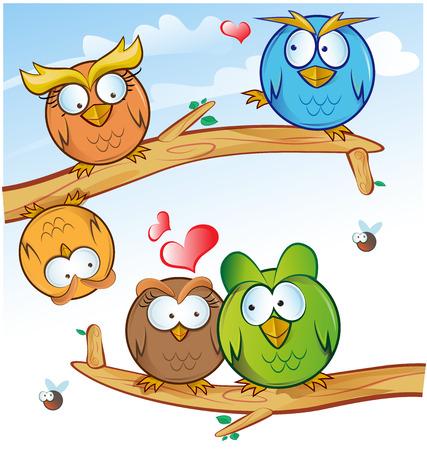 graduacion caricatura: dibujos animados grupo b�ho divertido en el �rbol