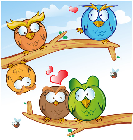 love symbols: funny owl group cartoon on tree