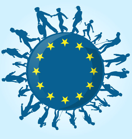 migrant: immigration people on european symbol