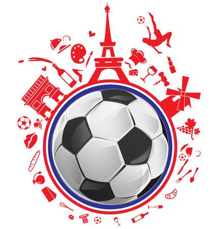 pelota de futbol: balón de fútbol con Francia conjunto de símbolos