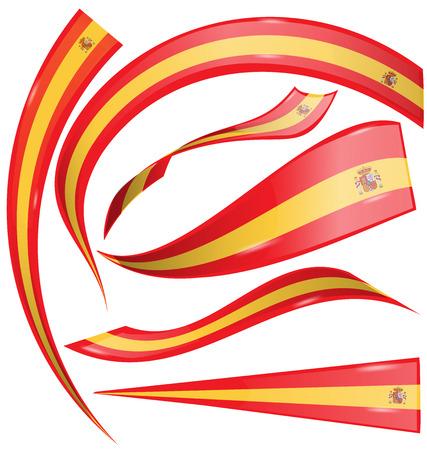iberian: spain flag set on white background