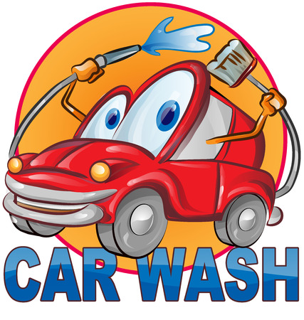 clean car: car wash symbol cartoon isolated on white