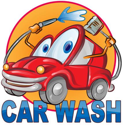 myjnia samochodowa symbol kreskówka na białym tle Ilustracje wektorowe