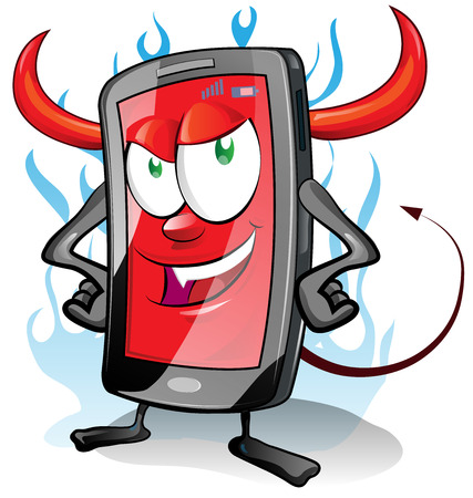 obsessed: evil fun mobile cartoon on flame background