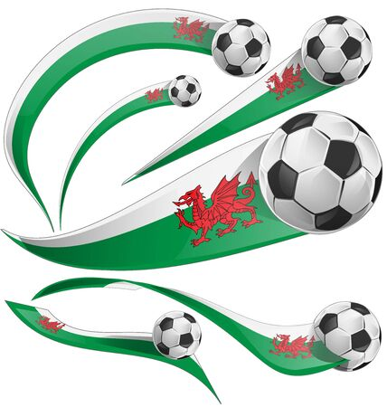 welsh: wales flag set with soccer ball isolated