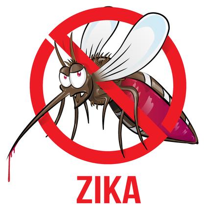 mosquito zika cartoon isolated on white Illustration