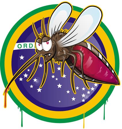 rash: mosquito zika cartoon on brazil flag