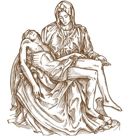 pieta statue of Michelangelo on white background