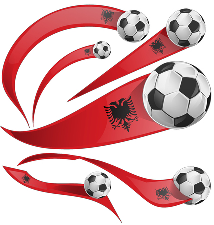 albania: albania flag set with soccer ball isolated